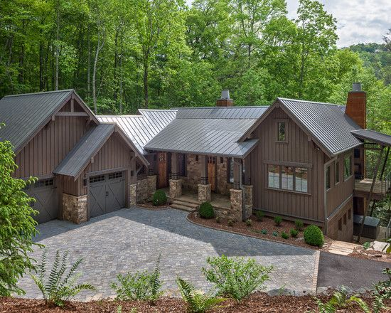 Unique Rustic Home Exterior Design: Traditional Landscape Wade Hampton Golf Club Classic Architecture