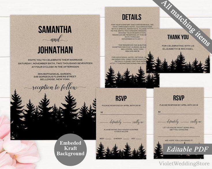 Kraft Paper Wedding Invitation Template. Printable Rustic Wedding Invitation. Modern Vintage Elegant Calligraphy Forest Invitation. Download by VioletWeddingStore on Etsy