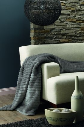 Trendy Lounge accessory to soften up any living space! Cascade Pewter from Lorraine Lea Linen