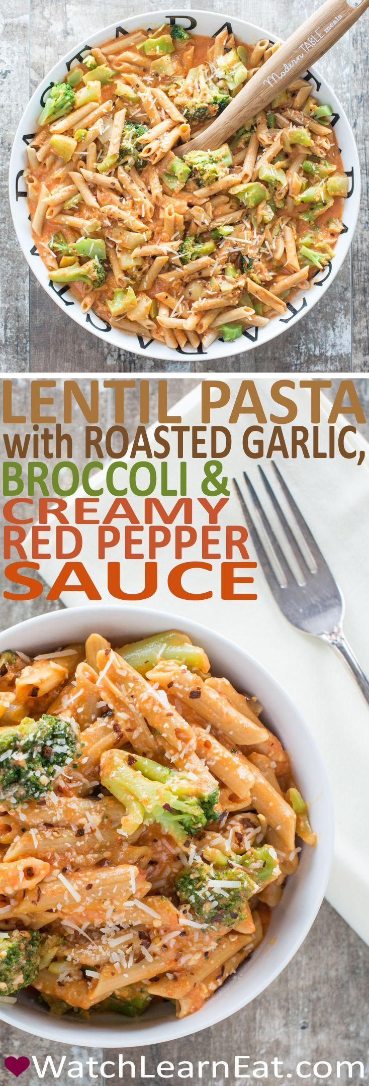 This Lentil Pasta with Roasted Garlic, Broccoli and Creamy Red Pepper Sauce is a delicious and hearty vegetarian meal that also happens to be gluten free.