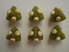 6 Small Triangle Shaped Green Bakelite Buttons with other Plastic Trim