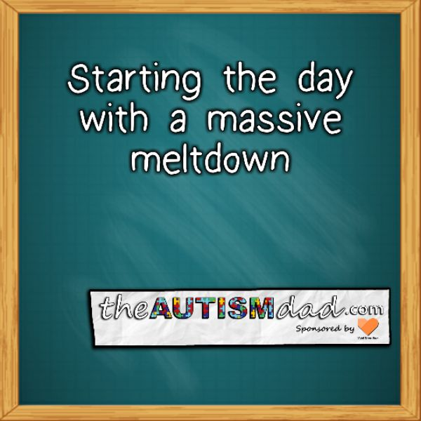 Starting the day with a massive meltdown  Massive Meltdown is the buzz phrase for today. Emmett has been up since about 3 am. I don't know exactly why he woke up but he did and was basically up for the rest of the night.   Unfortunately, that usually means that his resources for dealing with the next day will be sorely lacking,...  #Autism #Parenting #Fatherhood #SpecialNeedsParenting #sensory #Dad  https://www.theautismdad.com/2017/01/27/starting-the-day-with-a-ma
