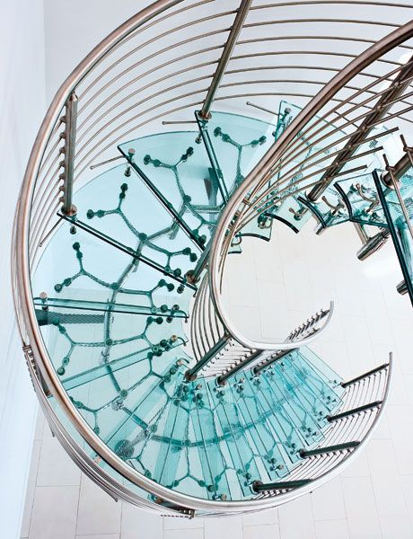 Staircase - Designed by Dean Maltz for Esquire: Aqua Glasses, Spirals Staircases, Spirals Stairs, Aqua Blue, Glasses Stairs, Aqua Dreams, Spirals Stairca Design, Stairways, Sweet Dreams