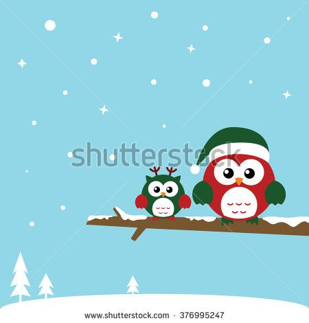Cute Christmas Owls sitting on the branch. Merry Christmas card wearing Santa Claus's hat. Flat design.