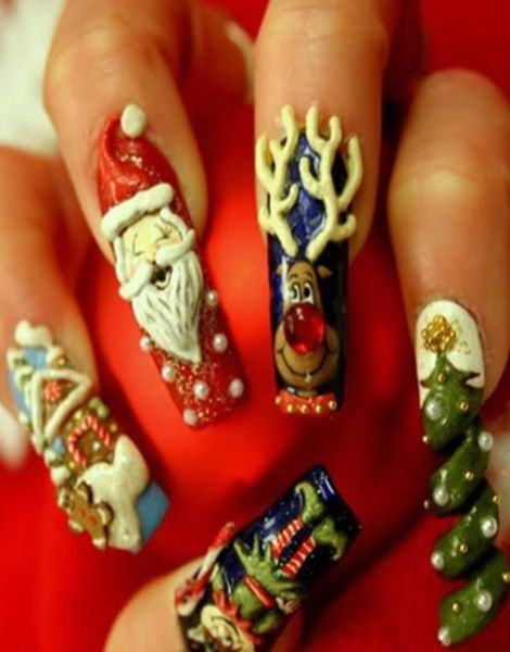 11 best acrylic christmas nails design images on pinterest acrylic christmas nails design acrylic christmas nails for girlssanta acrylic nails for 2013 prinsesfo Choice Image