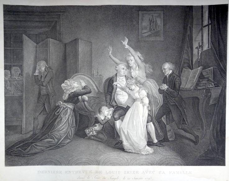 """""""Dernière entrevue de Louis Seize avec sa famille dans la Tour du Temple, le 20 Janvier 1793"""" - gravure non identifié - 1794 - Londres ?"""