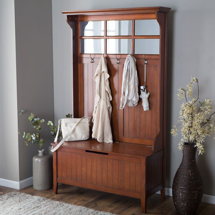 340 Belham Living Richland Hall Tree - Cherry - Entryway organization at its best - and most beautiful - the Richland Hall Tree - Cherry has everything you need to tidy up any transitional space. It...