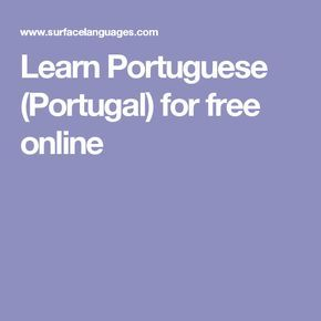 Learn Portuguese (Portugal) for free online