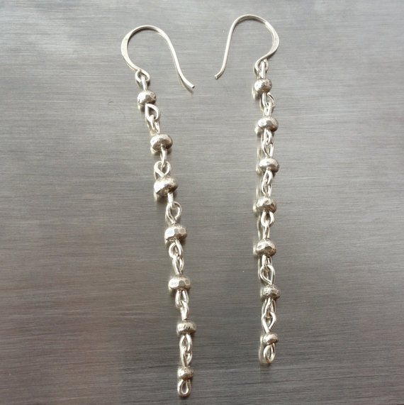 long silver dangle earrings - hammered sterling silver beads with french hook