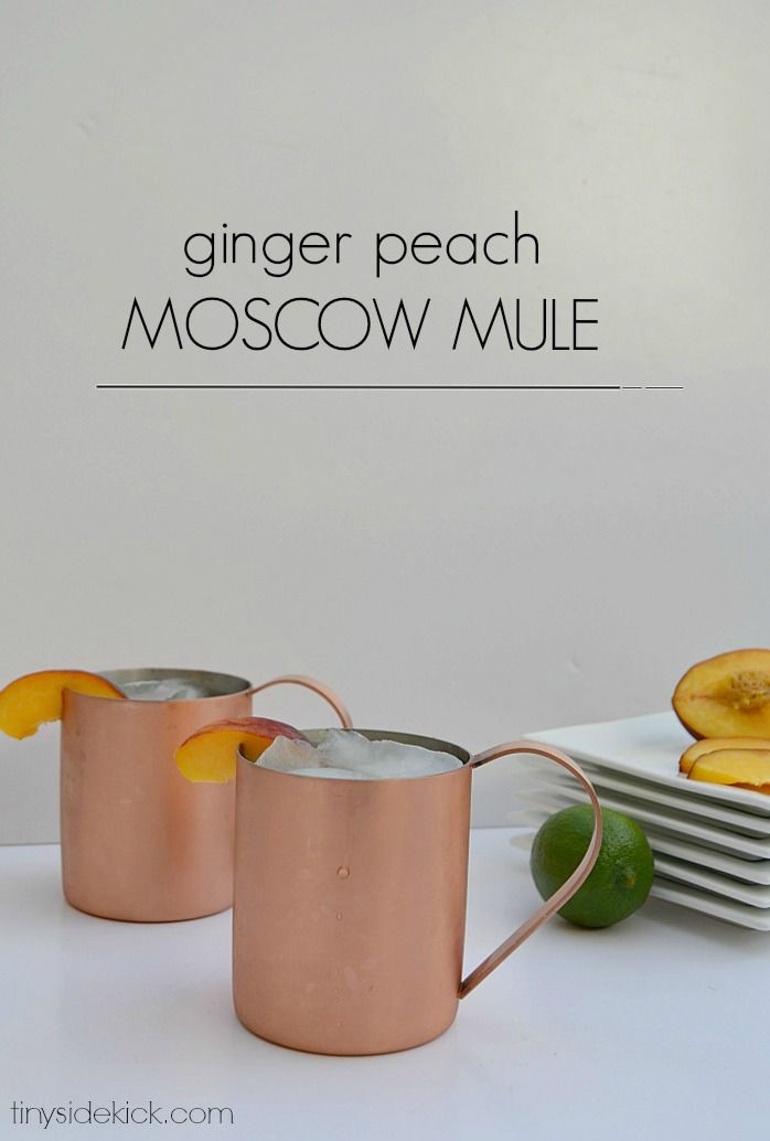A Ginger Peach Moscow Mule In a Nice Cold Copper Mug: Easy recipe shows you how to infuse your own vodka with fresh peaches.  #happyhour #cocktail