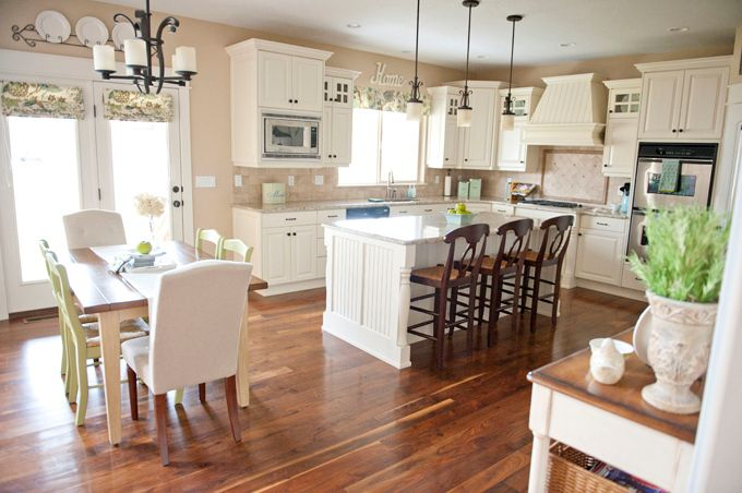 Can I please have this kitchen?: Dreams Kitchens, Romans Shades, Wall Color, Kitchens Ideas, Kitchens Layout, Families Rooms, Open Kitchens, White Cabinets, White Kitchens