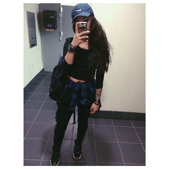 Full Outfit Black Long Sleeve Shirt Black Joggers Blue Flannel Nike Cap Baddie ...