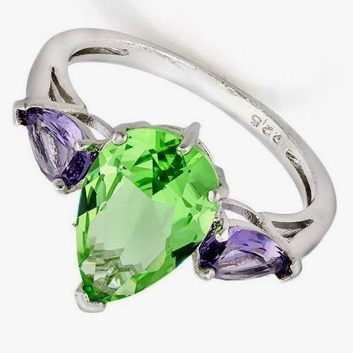 925 sterling silver ring with Lab Created 3.5 ctw Amethyst Green & Purple SZ 7