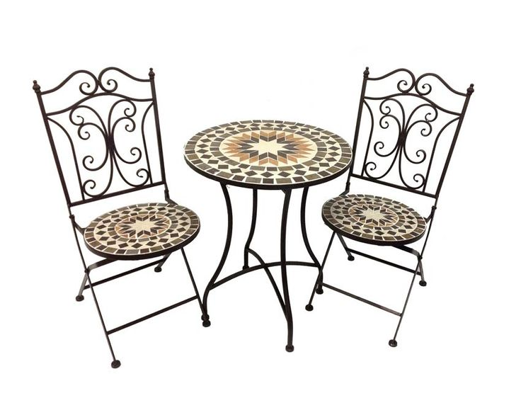 Mosaic and Metal Table and Chairs
