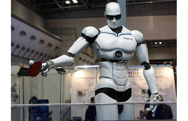 Topio, a bipedal humanoid robot designed to play table tennis against a human…