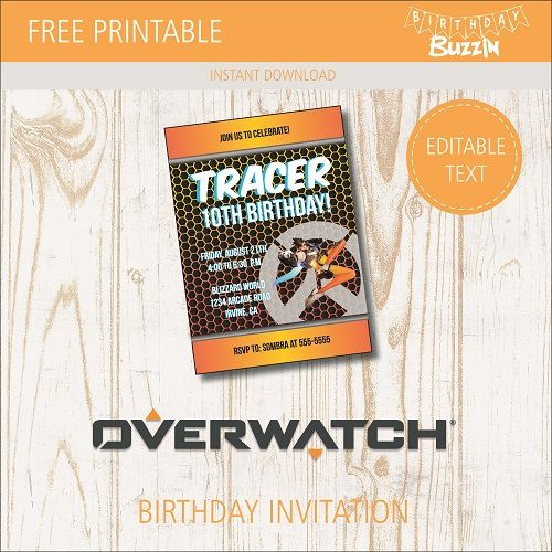 Free Printable Overwatch Birthday Party Invitations 9th Parties 12th Favors