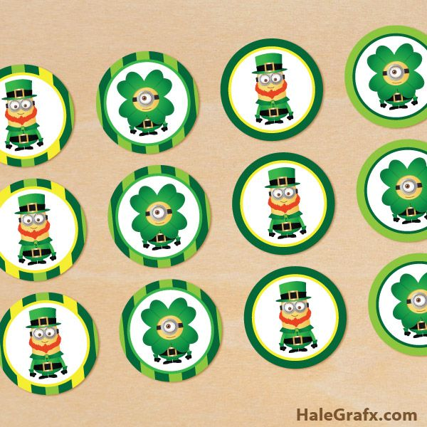 st patricks minion cupcake FREE Printable St. Patricks Day Minion Cupcake Toppers
