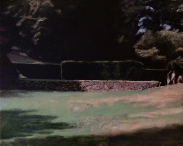 Approach to The Tiltyard  Oil on linen  24 cm x 30 cm, Dartington Gardens, Devon. Painting, art.