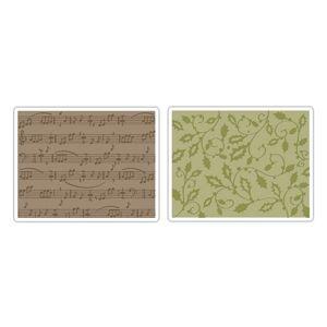Sizzix Textured Impressions Embossing Folders 2PK - Holly Swirls & Sheet Music Set $10.99