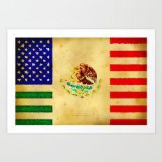 MEXICAN AMERICAN FLAG - … Art Print