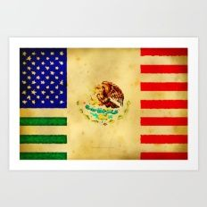 MEXICAN AMERICAN FLAG - … Art Print