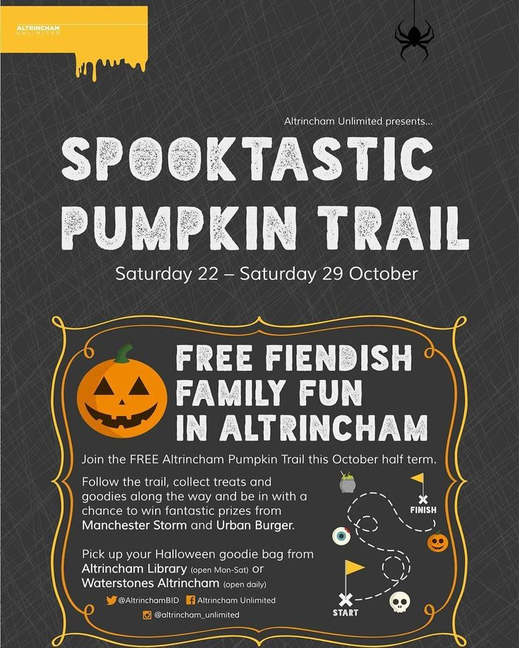 Halloween is coming...🎃🎃🎃 Poster/flyer design for the @altrincham_unlimited spooktastic Pumpkin Trail - coming up this half term all around Altrincham town centre! #halloween #pumpkintrail #spooky #trickortreat #free #fiendish #familyfun #Altrincham #logo #logodesign #brand #flyerdesign #posterdesign #branddesign #graphicdesign #fiandbecs
