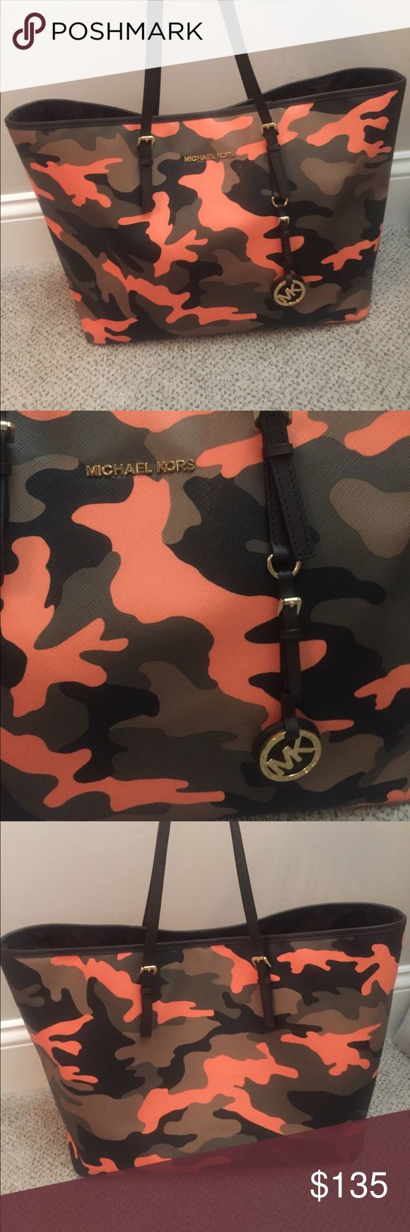Michael Kors Tote- orange camo Michael Kors Large tote, in mint condition. Exclusive orange camo. No signs of ANY wear Michael Kors Bags Totes