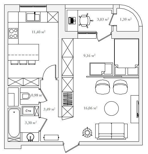 Делаем из большой однокомнатной квартиры двухкомнатную, 50 кв.м.