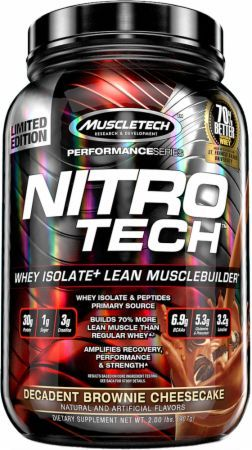 MuscleTech NITRO-TECH Decadent Brownie Cheesecake 2 Lbs. MT3690001 Decadent Brownie Cheesecake - Ultra Pure Whey Isolate Enhanced With Creatine & Aminos!