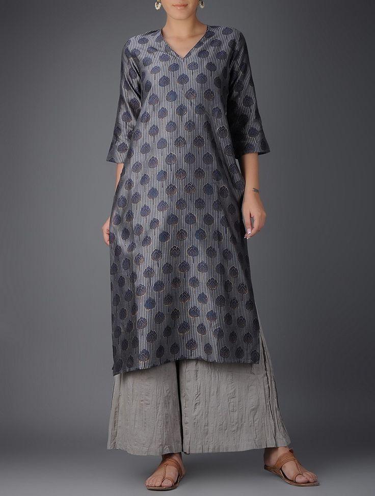 Grey-Blue Printed V-neck Chanderi Kurta on Jaypore.com