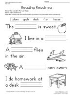 Thumbnail of Reading Readiness Worksheet 1.  TONS of handwriting and printing practice worksheets