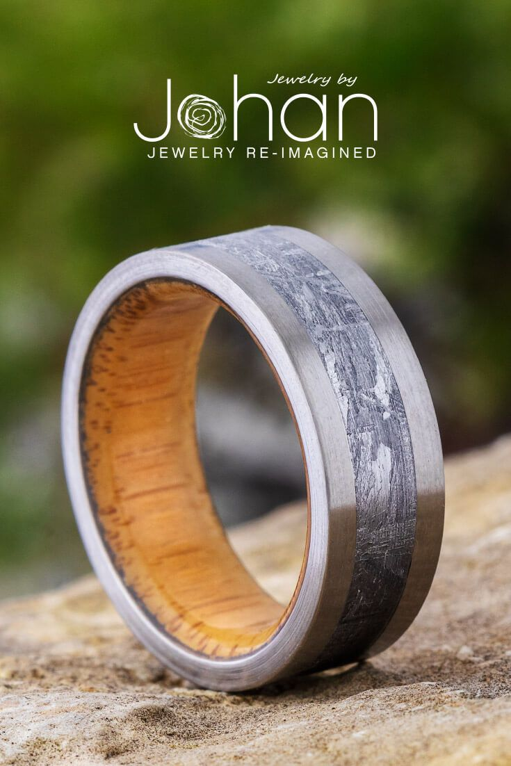 Bamboo Wood Ring With Meteorite And Titanium Edges 1999 In 2020 Wood Rings Modern Wedding Rings Wood Engagement Ring