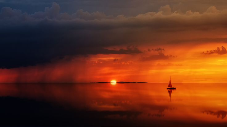 General 5120x2880 landscape sunset water sea sailing ship