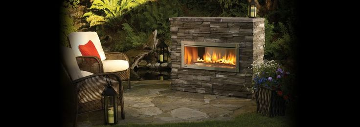 Furniture Granite Stone Outdoor Gas Fireplace Front 2 Rattan Furniture Chairs Used White Cushions Red Pillow Have Flower Pot Modern Outdoor Gas Fireplace