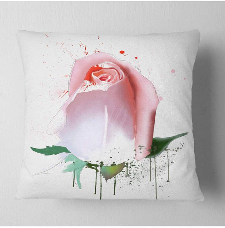 Designart Pink Rose With Paint Splashes Floral Throw Pillow 18 X 18 Floral Throw Pillows Paint Splash Beautiful Throw Pillows