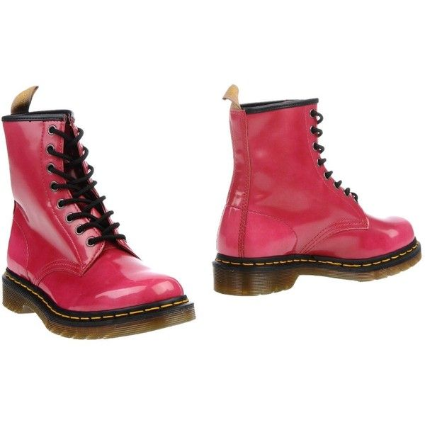 DR. MARTENS Ankle boot ($108) ❤ liked on Polyvore featuring shoes, boots, ankle booties, fuchsia, high heel bootie, leather bootie, army boots, combat booties and short leather boots