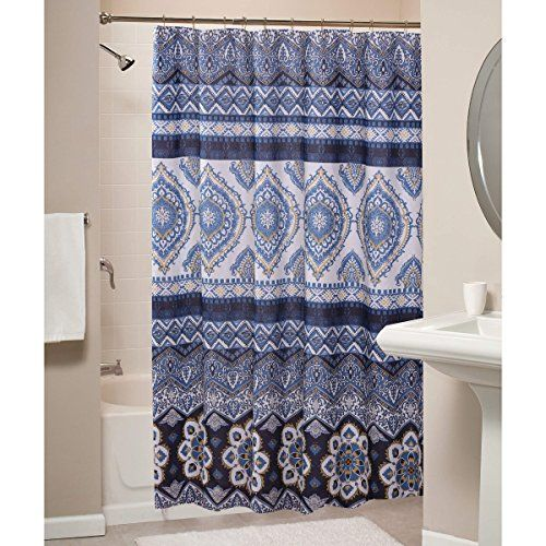 Boho Chic Moroccan Paisley Pattern Navy Blue Fabric Shower
