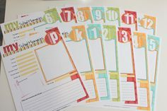 Free printable school memories pages; also like how she has a set of hanging files, one for each year, to keep mementos.