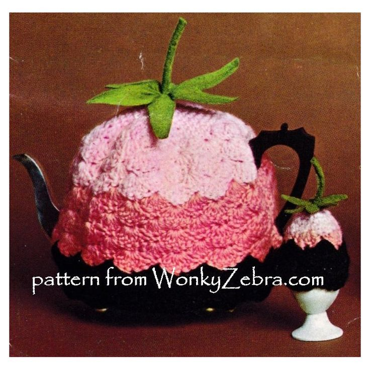 WZ893 gorgeous crochet flower tea and egg cosy patterns, from WonkyZebra. Felt leaf trim, but easy to crochet some too.