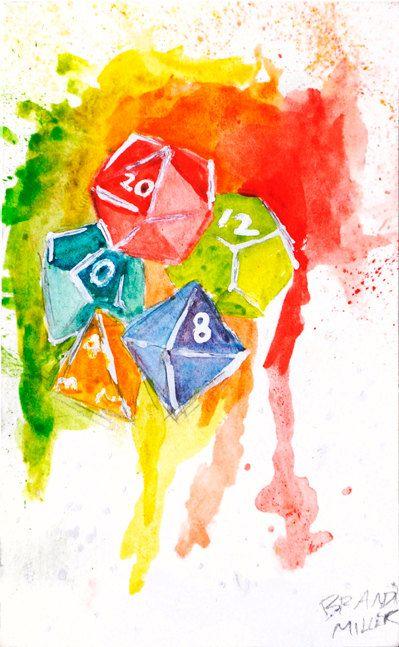 Polyhedral Dice Original Watercolor Painting by Brandi Miller Art, $8.00
