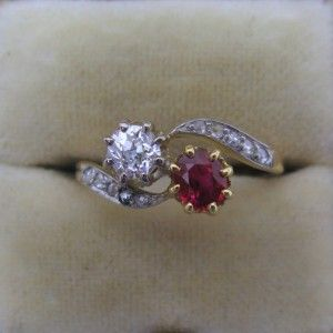 Two stone ruby and diamond engagement ring