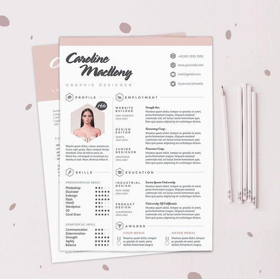 "Resume CV Design Template + Cover Letter   Instant Digital Download   The ""Colorista"""