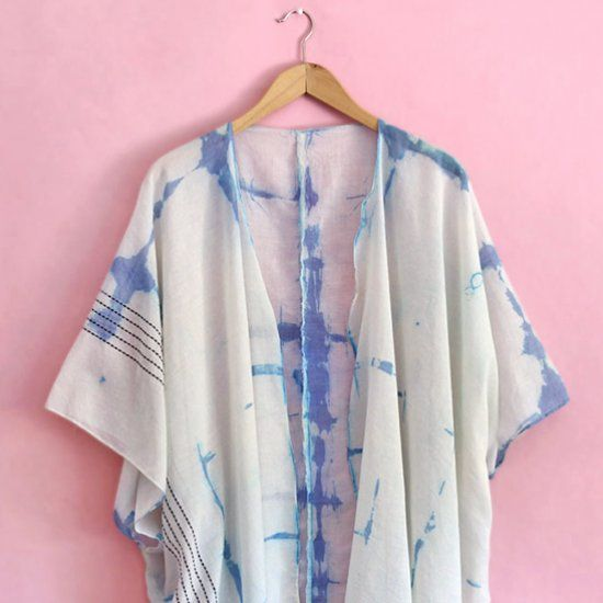 Turn a plain scarf into a pretty, summery DIY Shibori Kimono.