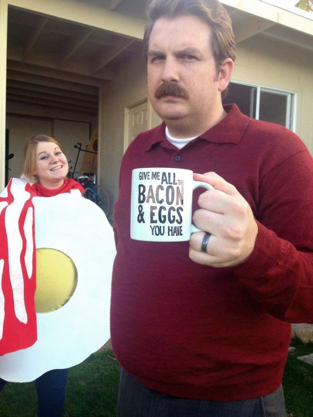 Ron Swanson + Bacon and Eggs Couple Costume.