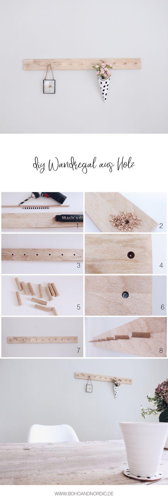 DIY Regal - Wandregal aus Holz selber machen - DIY Wohnen - Möbel - Deko - Wanddekoration - Bastelanleitung für ein Regal