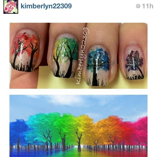 Ok, I, never do my nails (well I did a minion on 1 fingernail and big toes last week, bug I hadnt 4 a long time) but I might do this!  Tree Fingernails