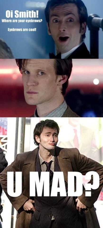 Bowtie vs Eyebrows Saw the first picture when I was searching for Tennant related things, and it broke my heart. Why u a jerk Matt? So I whipped up th…