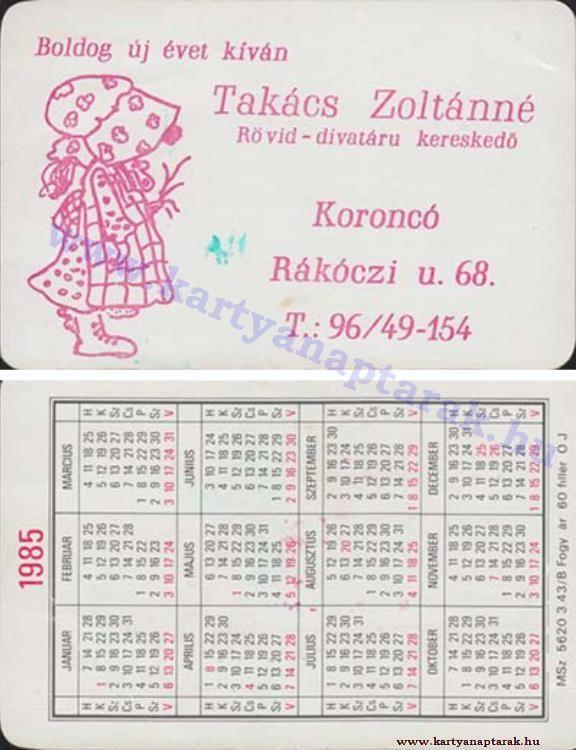 1985 1985 0505 Regi Magyar Kartyanaptarak 1985 Kartyanaptar