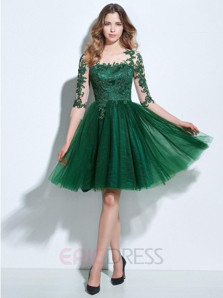 Find More Cocktail Dresses Information about 3/4 Sleeve Knee Length Tulle Appliques Vestidos De Festa Curtos Noite A Line Cocktail Short Dresses Special Occasion Dresses,High Quality dress weeding,China dress ab Suppliers, Cheap dress up games wedding dress from Loveperfect on Aliexpress.com