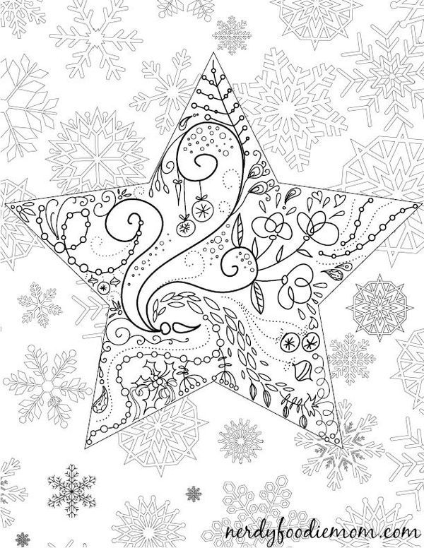 Star Christmas adult coloring page - if you love crafts, I highly recommend coloring! It is my favorite idea for winding down on the weekend and getting into the Christmas spirit with this one!